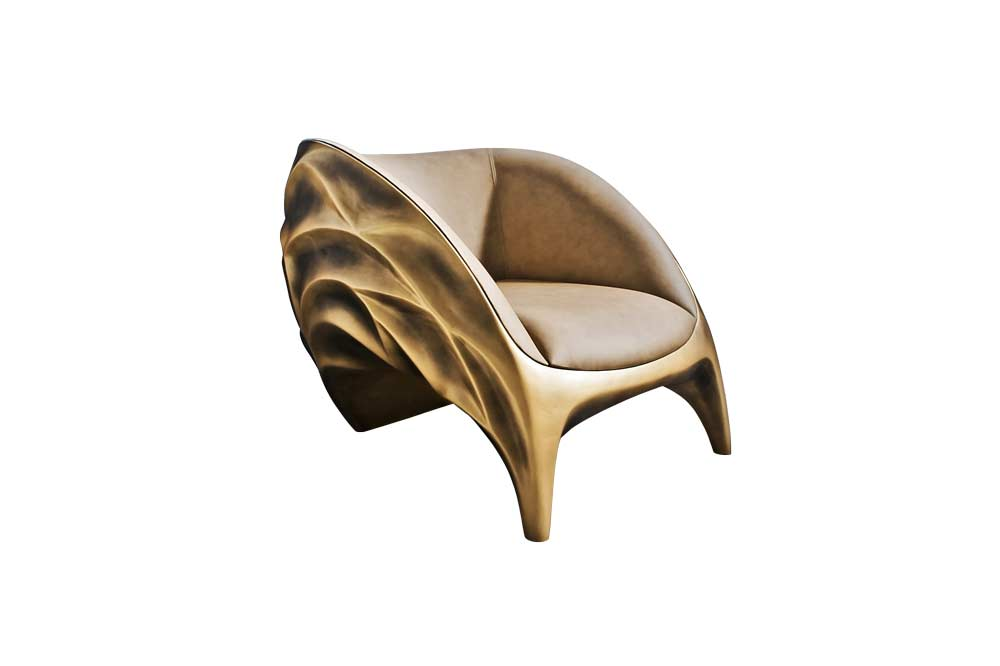 Triton Armchair in Gold Color