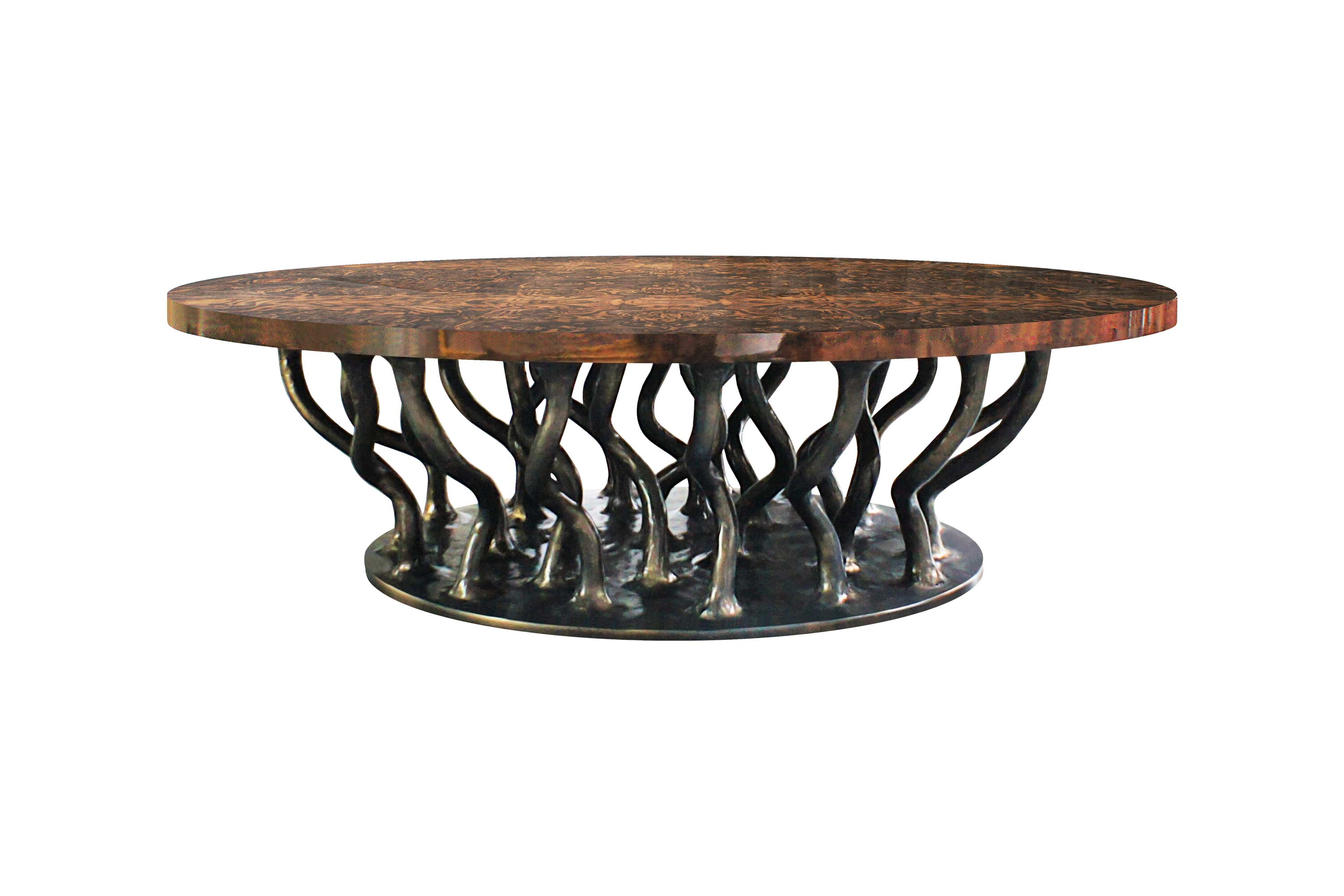 Allana Coffee Table with Oval Walnut Root Venner Top