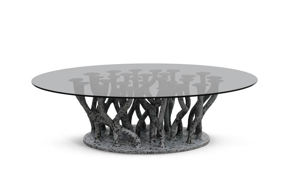 Oval Grey Glass
