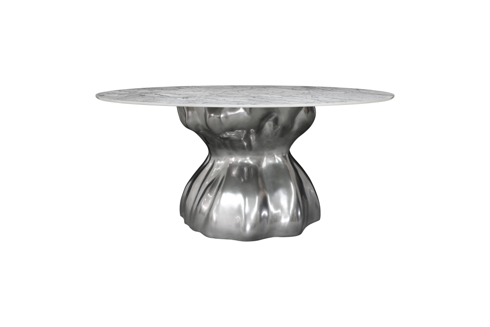 Baobab Dining Table in Silver Chrome