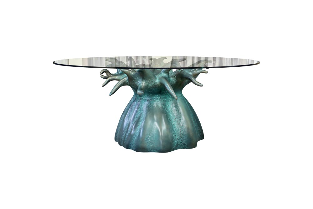 Baobab Dining Table in Verdigris Color