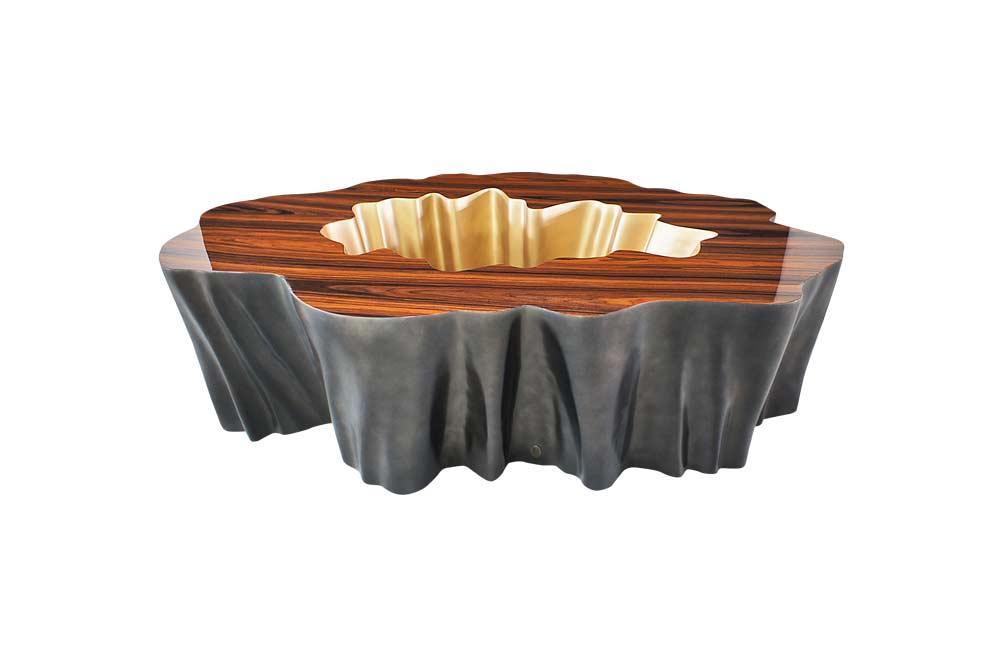 Gaia Coffee Table In Pau Santo and Bronze