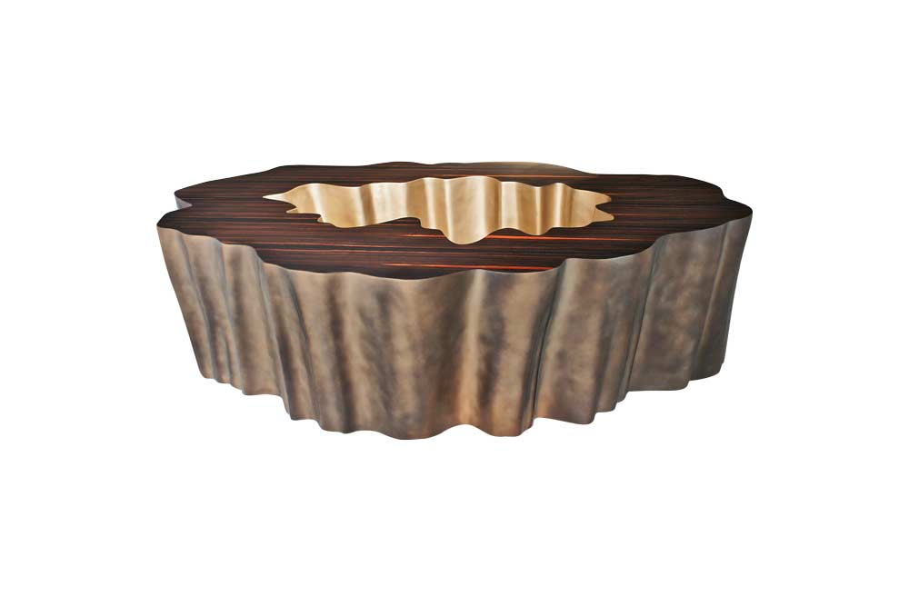 Gaia Coffee Table In Ebony and Brass