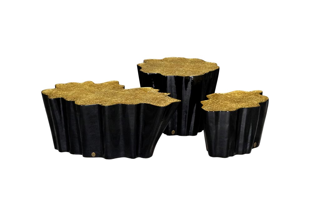 Set of Gaia Coffee Tables in Black and Gold Leaf