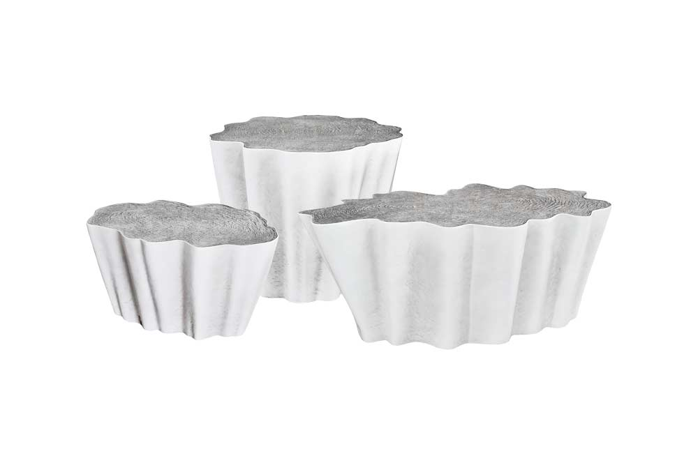 Set of Gaia Coffee Tables in White and Silver