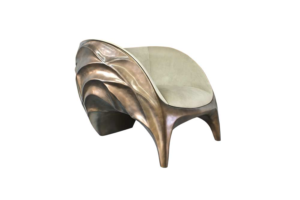 Triton Armchair Finished in Brass Color