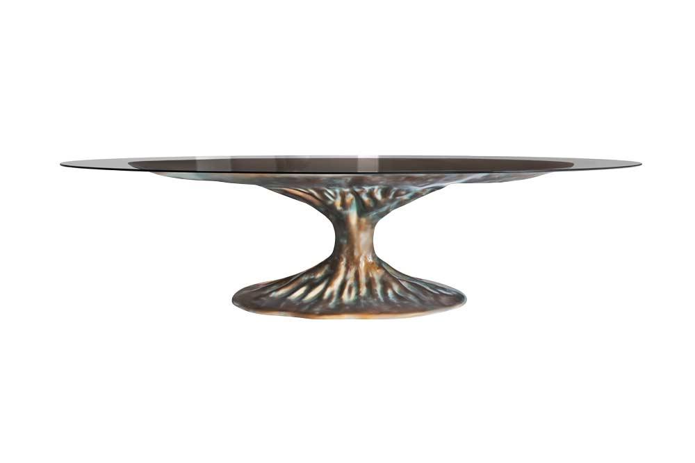 Cor Bronze e Tampo em Vidro