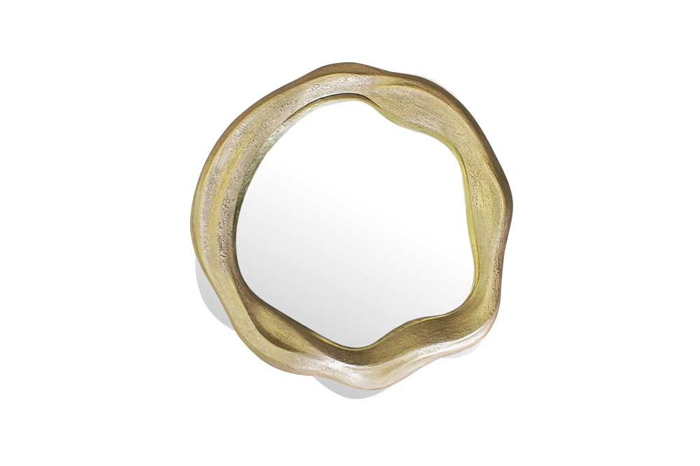 Espelho Twisted Pequeno em Folha de Ouro