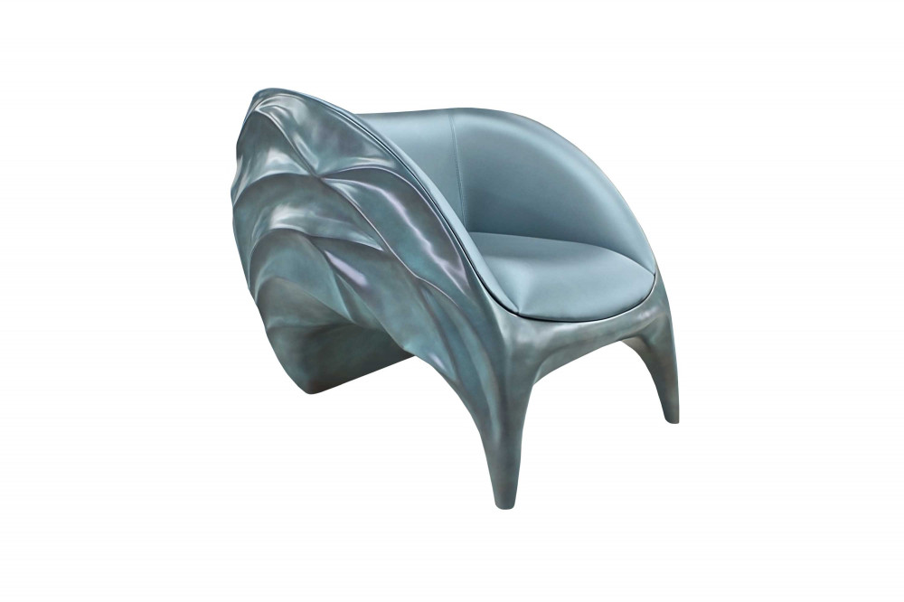 armchair exclusive luxurious sculptural elegant blue triton karpa 1
