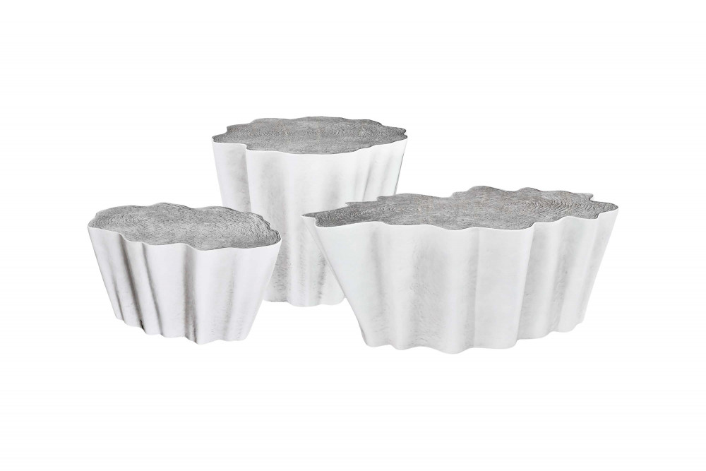 side coffee tables exclusive luxurious sculptural tree trunk white textured gaia set karpa